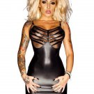 Black New Mesh Bras Accents Sexy Vinyl Lingere Dress With Spaghetti Strap W850722