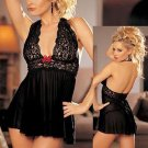 Black Sexy Hot Floral Lace Halter Necline Tie One Size Lingerie With High Cut Back W344115