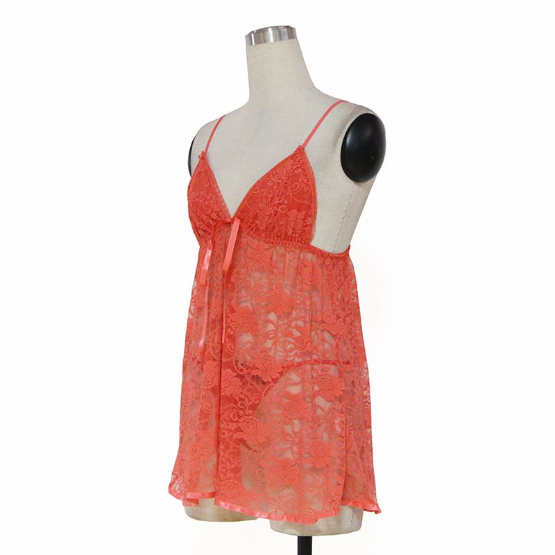 Sexy Tri-cup XXL Size Orange Color Spaghetti Strap Lingerie With Floral Lace W384101C