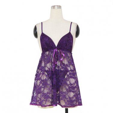Dark Purple New Design Hot Fashion Floral Lace M Size Lingerie With Spaghetti Straps W384101F