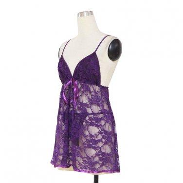Hot Sexy XXL Size Dark Purple Floral Lace Spaghetti Shoulder Strap Lingerie W384101F