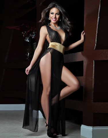 Sexy High Waist Black Long Sheer Gown One Size Lingerie With Glod Waist Satin W385517A