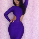 New Design Dark Purple M-XL Size Sides Cut Out Women Dress W3225B