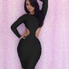 M-XL Size Sides Cut Out And Back Fashion Black Women Dress With Long Sleeves W3225C