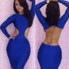 New Hot Sale Sides Cut Out And Back Fashion M-XL Size  Dark Blue Women Dress W3225D
