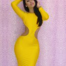 Yellow Cut Out Bodycon Dresses Fashion M-XL Size Women Skinny Mini Dress