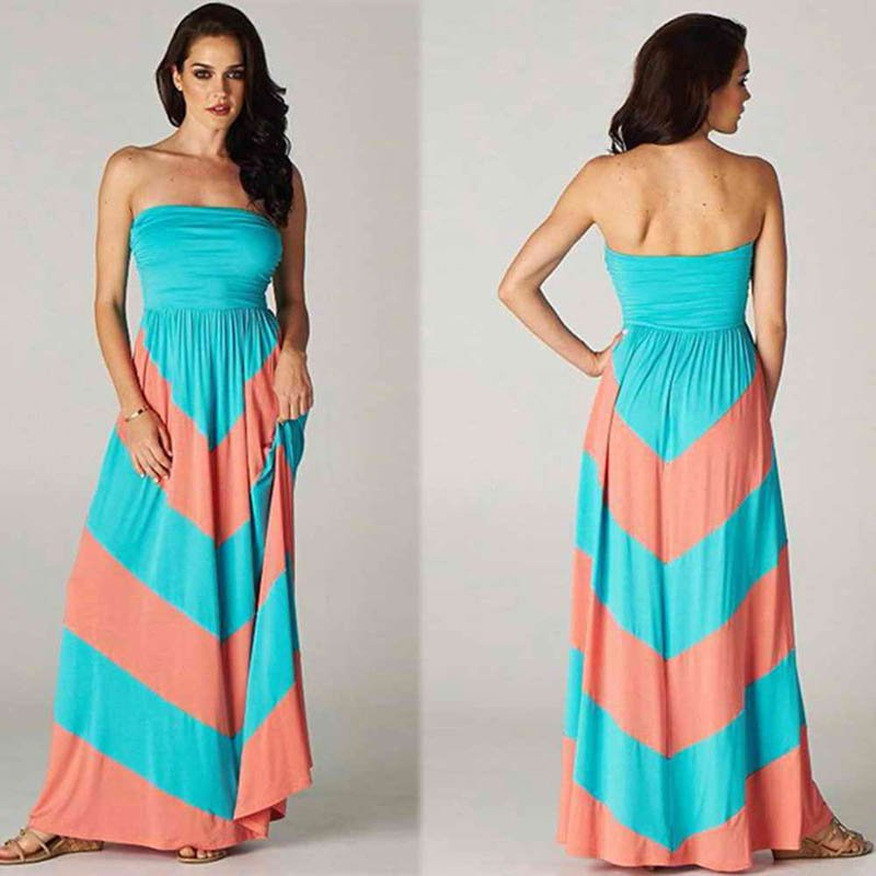 Hot Sale Orange And Green S-XL Size Off The Shoulder Beach Dress W3694B