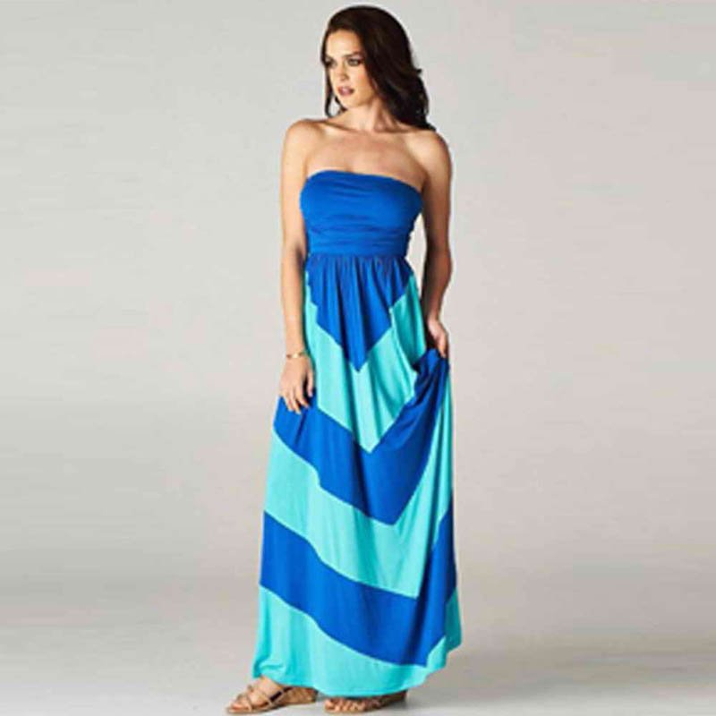 Fashion Sexy Strapless Dark Blue S-XL Size Off The Shoulder Beach Dress W3694D