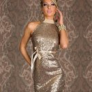 Apricot Sequined Halter Clubwear M-XL Size Women Dress With Bow Ties W84320B