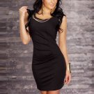 Hot Sale Scoop Necline Fashion One Size Black Dress With Chains Accents W123415A