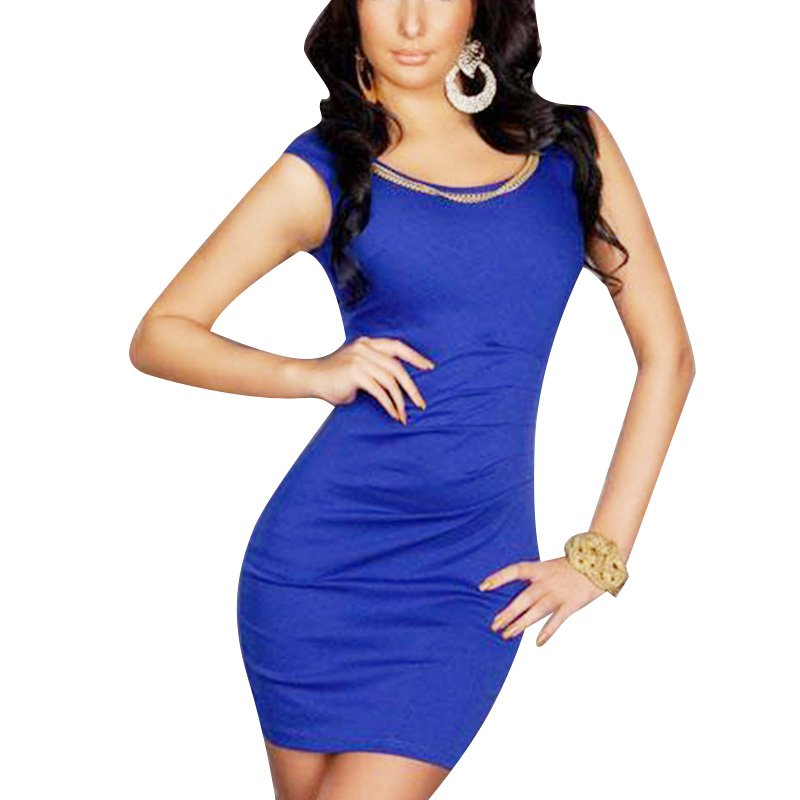 Fashion New Style Blue One Size Off The Shoulder Sexy Dress With Scoop Neckline W123415C