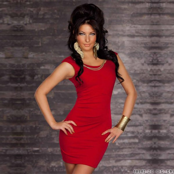 Sexy Red One Size Off The Shoulder Chains Accents Dress With Scoop Neckline