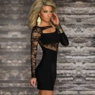 Keyhole Front Fashion Sexy Floral Lace Accents New Style Black One Size Dress W203038A