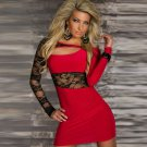 Red Fashion Sexy Keyhole Cut Out Dress With Floral Lace W203038B