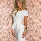 White Fashion Clubwear New Design Peplum Dress With Short Sleeves