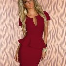 Fashion Short Sleeves Wine Red Color New Design Peplum M-XXL Size Dress W203078E