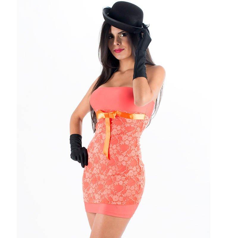 Light Orange Color Fashion Hot Sale One Size Floral Lace Off The Shoulder Sexy Dress W203112C