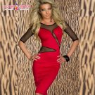 Mesh Sleeves New Design Red One Size Sexy Scoop Neckline Women Dress W203118A