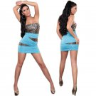 Fashion Sexy Clothing Blue Pucker Bodice Sleeveless Dress With Sequin Night Clubwear