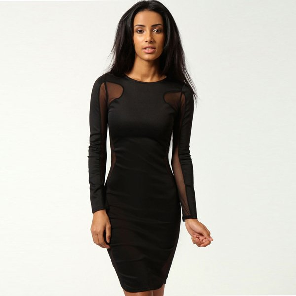 Black Scoop Neck Party Dres Sexy Bodycon Dress Fashion Dresses With Mesh Panels