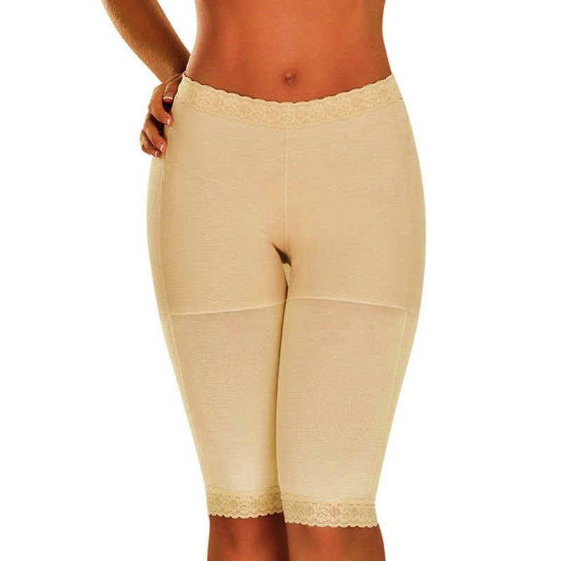 S-XXL Size Apricot Color Floral Lace Trim Hot Sale Lingerie Tight Cropped Pants W35067B