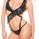 Strap Details S-XXL Size Black Fringe Accents Sexy Halter Style Leather Lingerie W358851