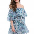 Fashion Off-shoulder Casual Dresses Blue Double Layer Ruffle Summer Beach Dress