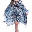 Strap Ties Front Boho Dresses S-XL Size Drape Sleeves Blue Fashion Beach Dress