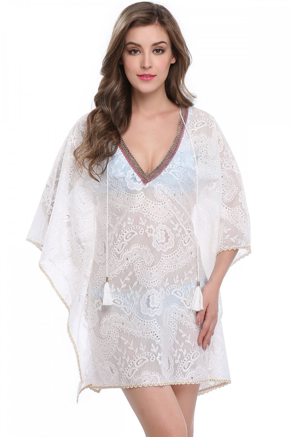 V Neckline White S-XL Size Drape Sleeves Fashion Floral Lace Print Beach Dress W351026