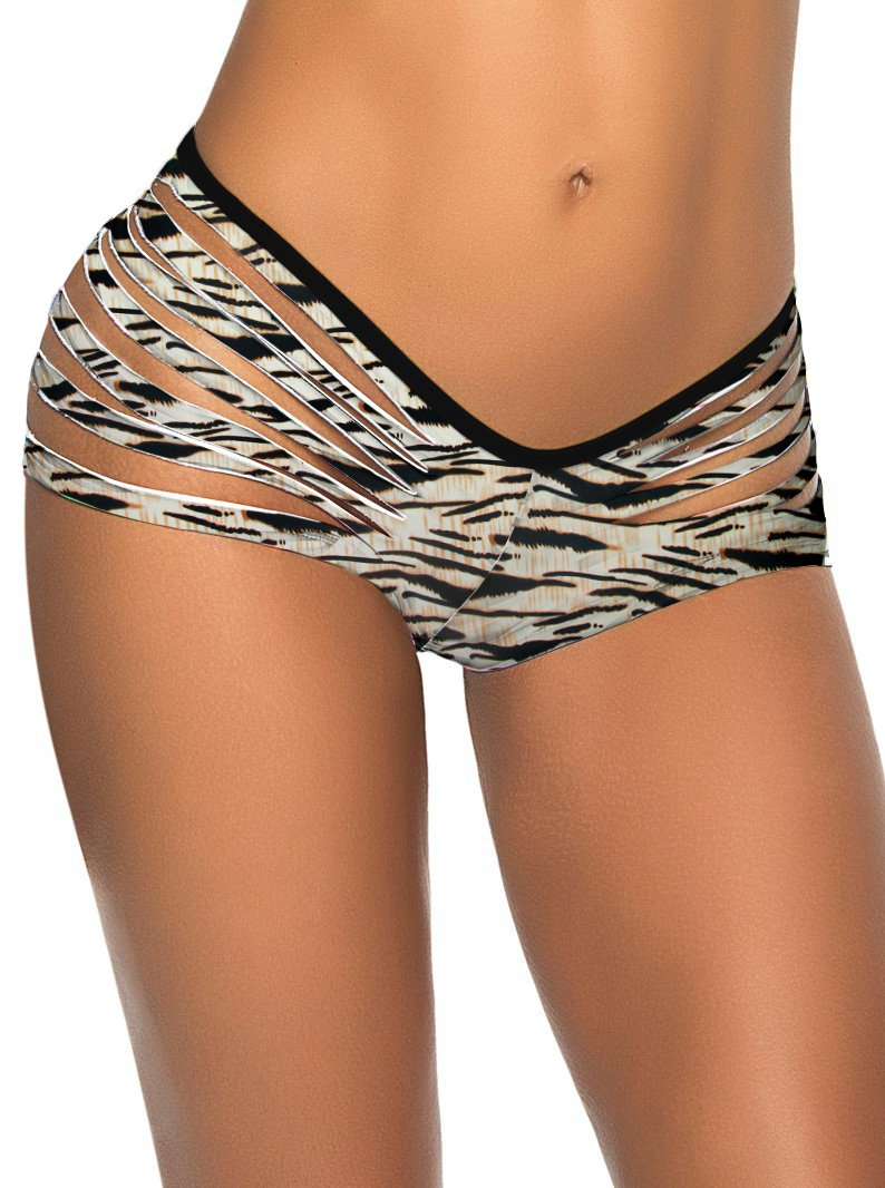 Zebra Pattern Print Slash Fashion Hot Sexy Swimming Trunks W3538A