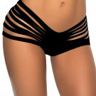 Black S-XL Size Keyhole Cut Out Sides Fashion Hot Sexy Swimming Trunks W3538D