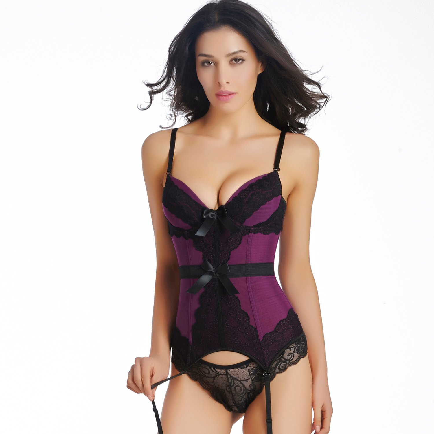 Women Sexy     Mesh   Bustier  With Bow  Purple Bustier Corset   S-XXL Size   W355503F