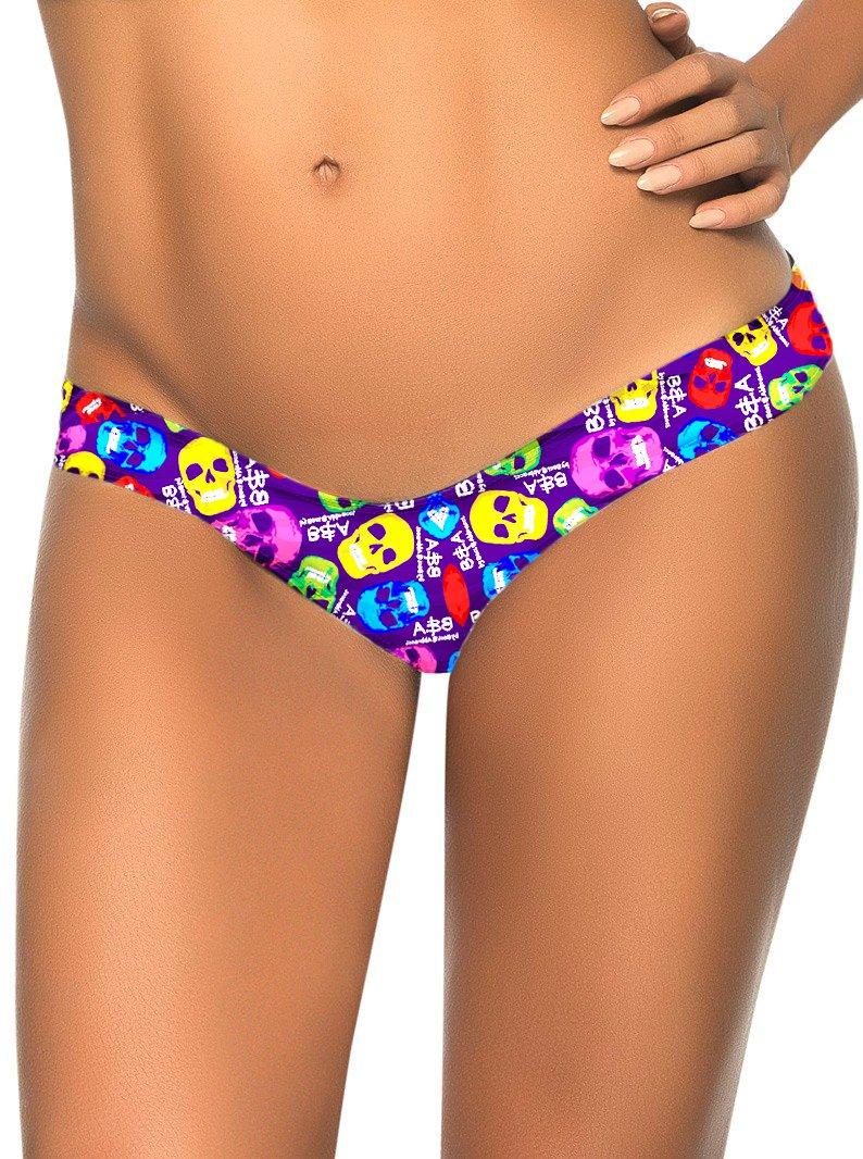 Sexy Colorized Human Skeleton Print S-XL Size Fashion Women Swimming Trunks W3537A