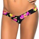 Black Floral Pattern Print Fashion New S-XL Size Women Swimming Trunks W3537K