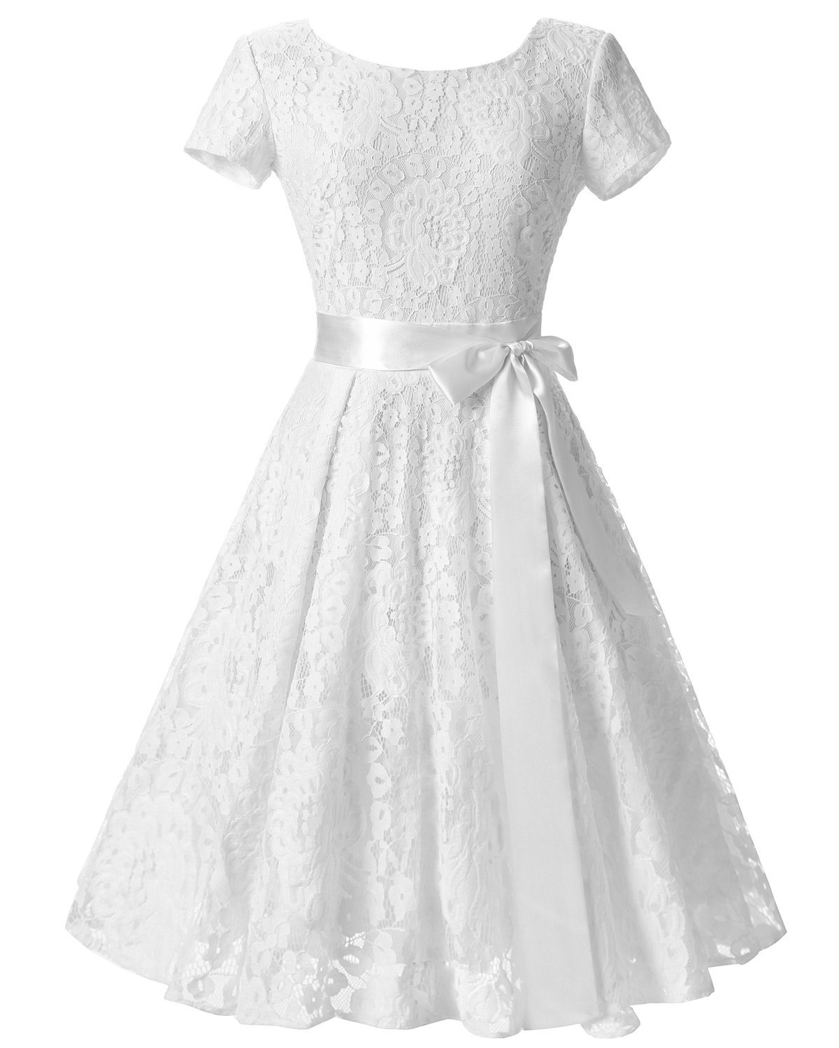 2020 Women White Lace Streetwear Short Sleeve Retro Prom Dress With A bow tie