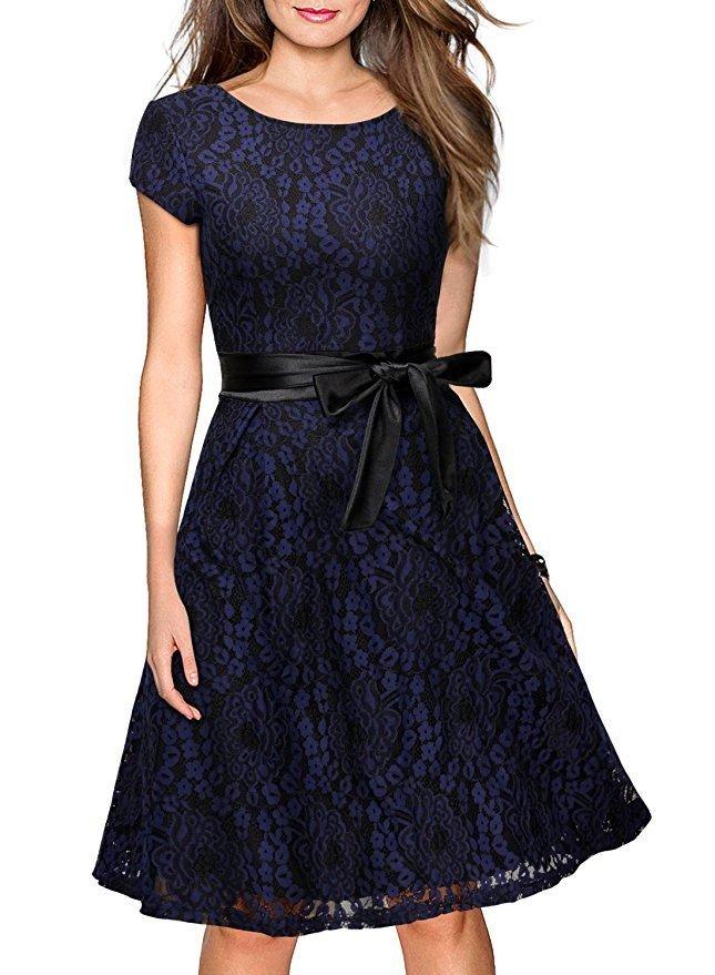 Women Blue Retro Dress With A Belt S-XXL Size W3517874B