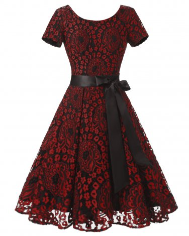 Women Red Retro Dress With A Black Blet S-XXL Size W3517874D