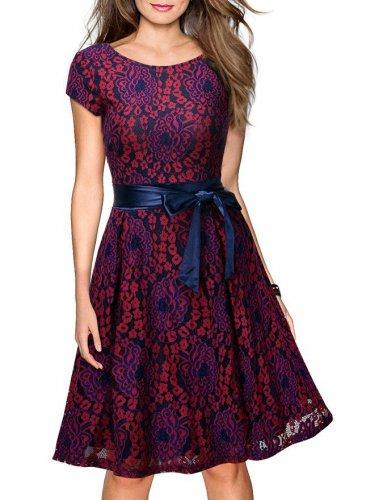 Women Red Retro Dress With A Blue Waistband S-XXL Size W3517874E