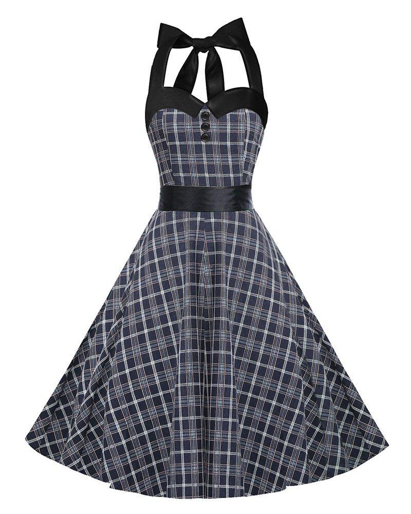 European Women Checked Print Retro Skirt Chic Lady Vintage Dresses