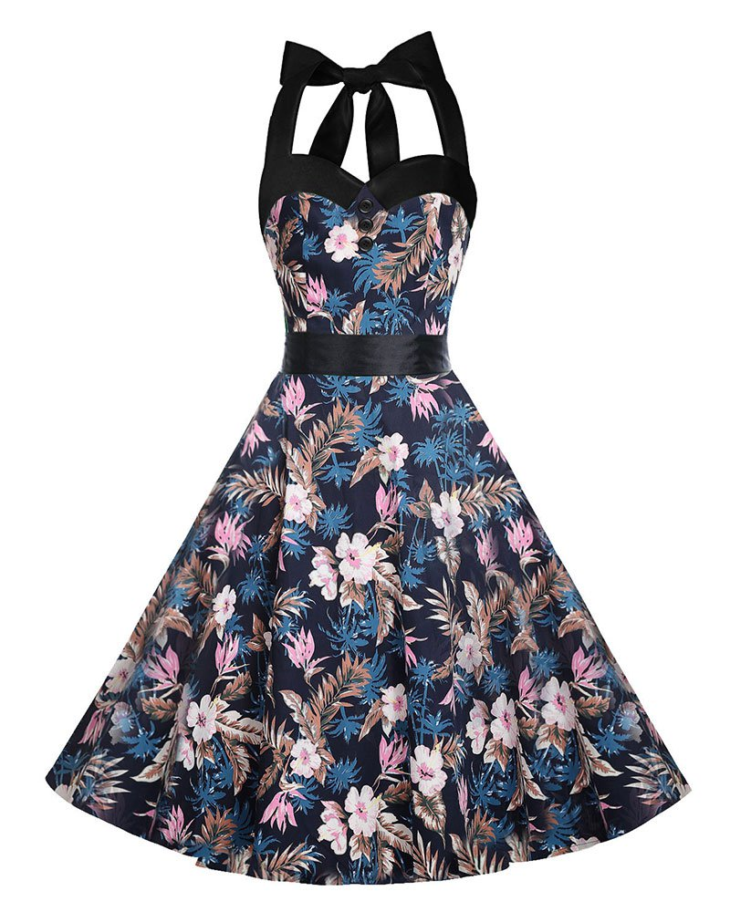 Women Retro Dress With Patterns Design Of Pink Flower Print Midi Dresses