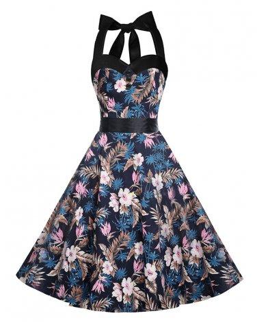 Women Retro Dress With Patterns Design Of Pink FlowersS-XXL Size W3517897D