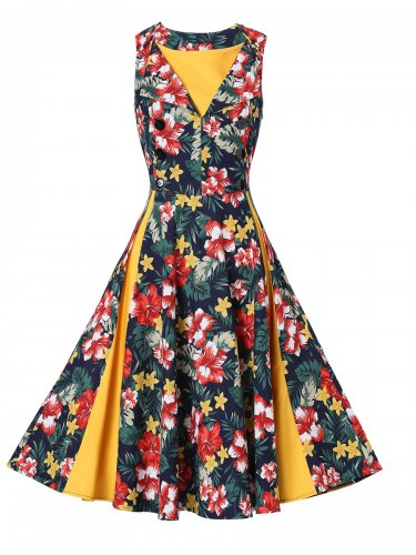 Women Colorful Retro Skirt With Patterns Design Of Yellow Flowers S-XXL Size W3517905A