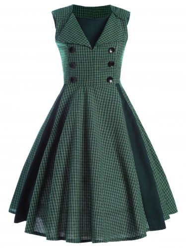 Women Elegant Checked Retro Dress S-XXL Size W3517905B