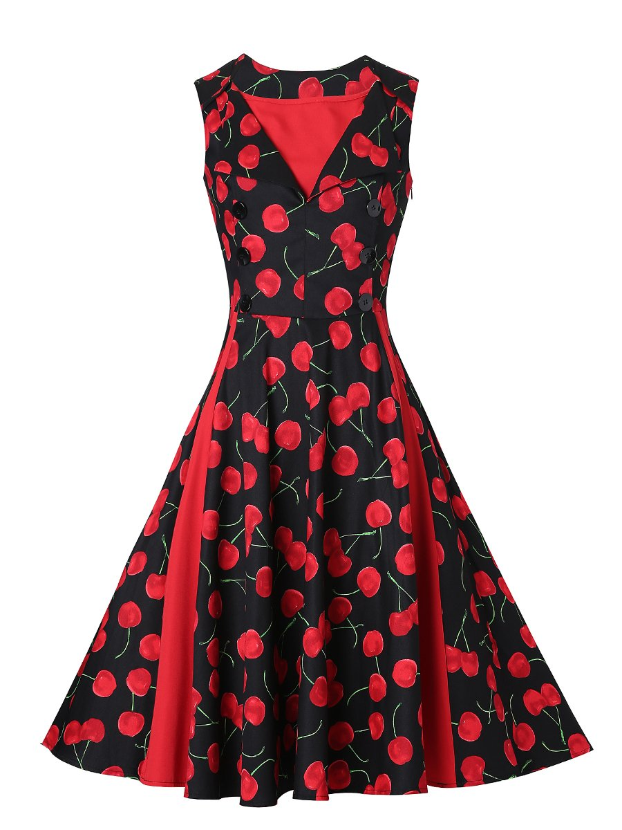 Women Gentler Retro Dress With Patterns Design Of Red Cherry S-XXL Size W3517905C