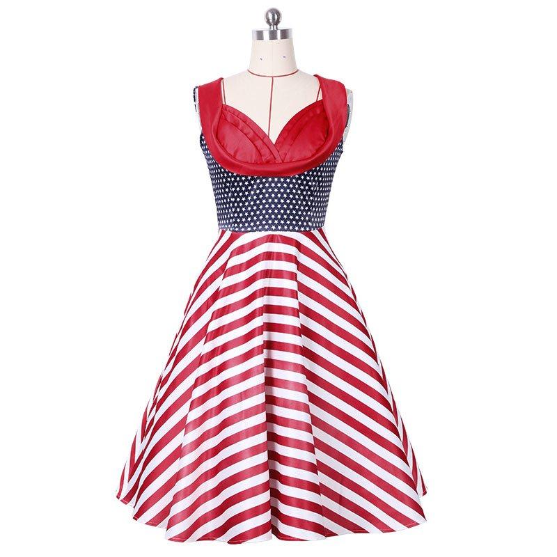 Red Sleeveless Striped Dress Women with grace S-XXL Size W3517916