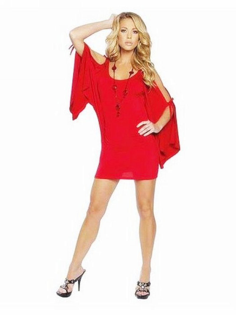 Hot Red Color Drape Sleeves Sexy Clubwear With Scoop Neckline W3214A
