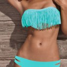 Blue Color L Size Hot Fashion Fringe Design Sexy Bikini With Keyhole Details W399402C