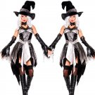 Black Halloween Cosplay Glam Witch Costume with Hat W542888