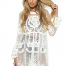 White Long Sleeve Lace Knitted Tunic Beachwear Beach Cover-ups