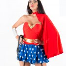 Red Superhero Wonder Woman Costume Outfits Carnival COS Fancy Dress